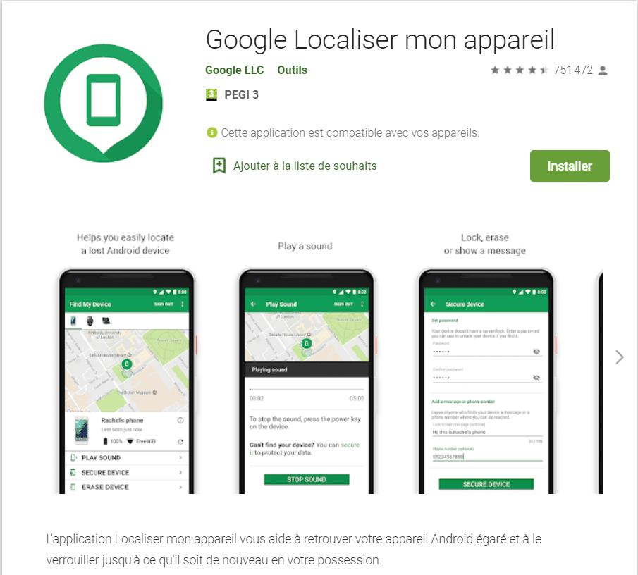 Pour Android : l'appli Localiser mon appareil