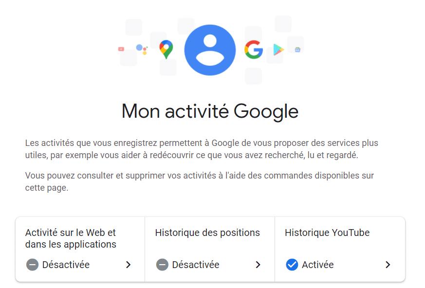 La page myactivity.google.com