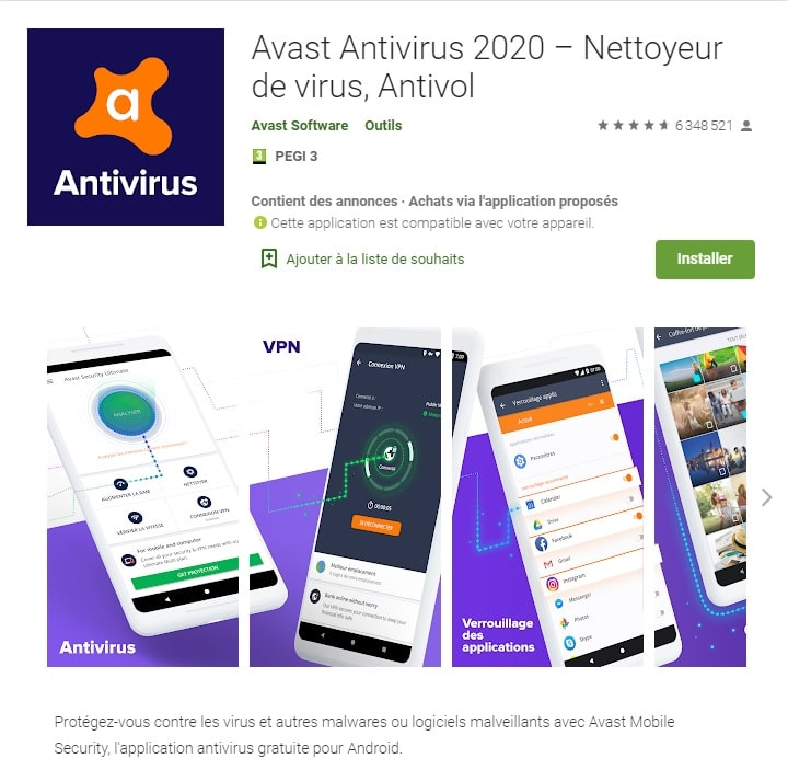 Le meilleur antivirus Android gratuit : Android Avast