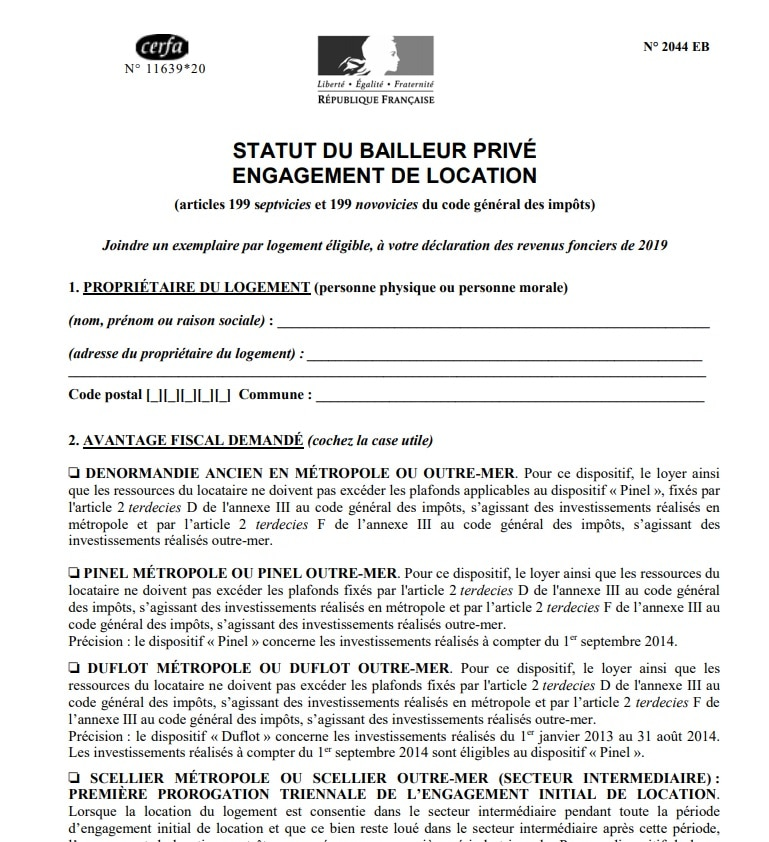Le formulaire2044 EB en détail
